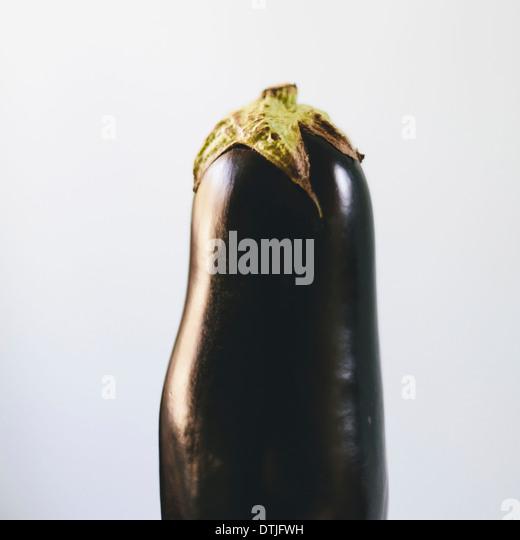 Close up of organic eggplant  King County Washington USA - Stock Image