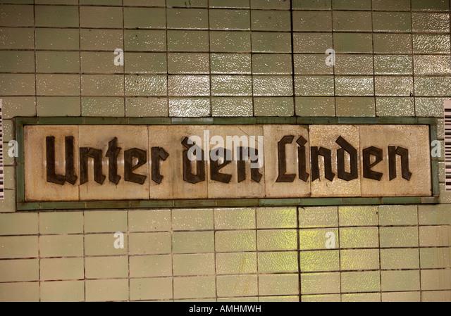 original 1930s Unter den Linden Berlin U bahn underground railway station name plate former ghost station east Germany - Stock Image