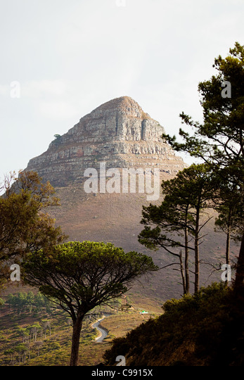Lion's Head mountain viewed from Signal Hill, Cape Town South Africa, - Stock Image