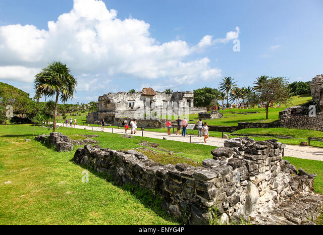 Tulum ruins the site of a Mayan ancient civilization walled city on the Yucatán Peninsula, Quintana Roo, Mexico - Stock Image