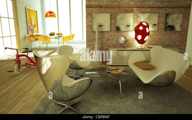 Modern livingroom, warm atmosphere, very stylish, with wooden floor and a child tricicle on a side. - Stock Image