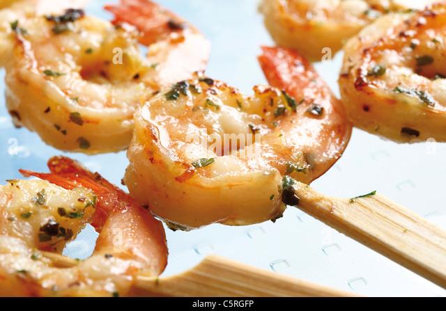 Skewers of Shrimps, close-up - Stock-Bilder