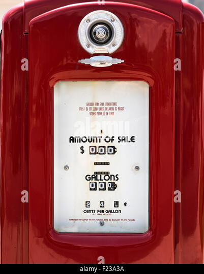 Old fashioned gasoline pump detail. - Stock Image