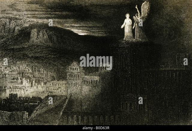 19th Century engraving The Third Temptation 1835 from a painting by J Martin from John Milton's Paradise Regained - Stock-Bilder
