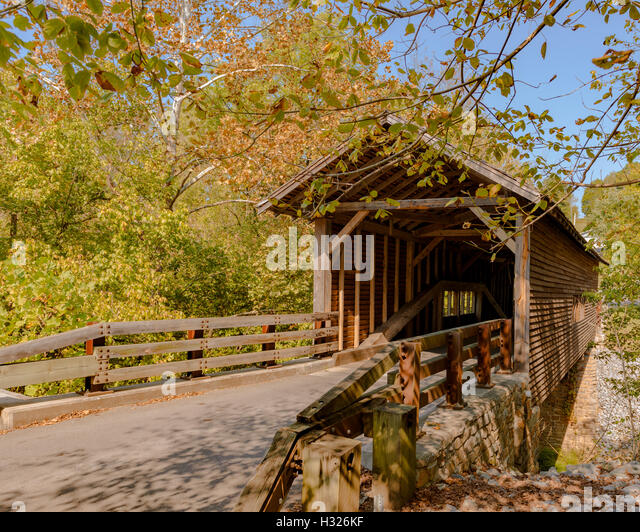 Harrisburg covered bridge in Sevier County, Tennessee, USA. - Stock Image