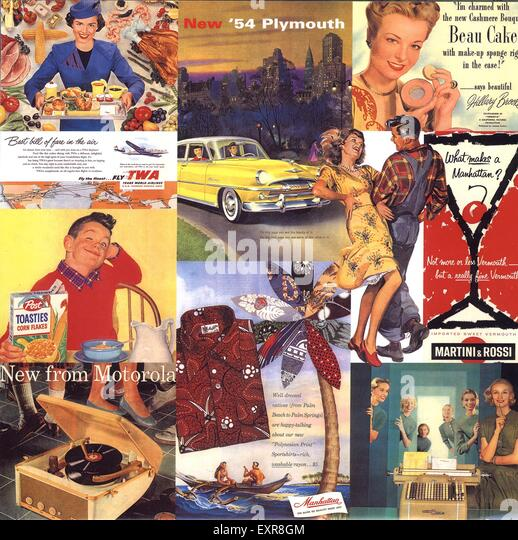 1950s UK Advertising Archives Montage Page Brochure Plate - Stock Image