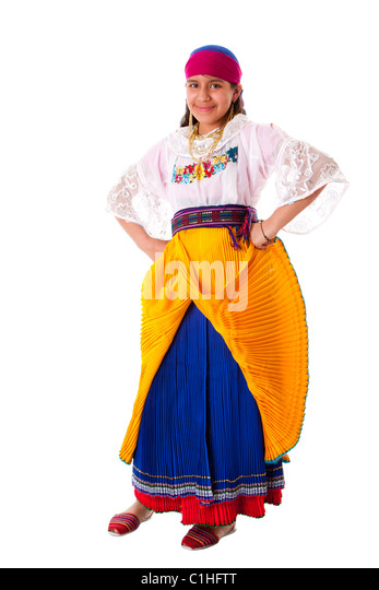 Happy Latina teenage girl from South America highland dressed in Folklore clothes from Ecuador, Peru or Bolivia, - Stock Image
