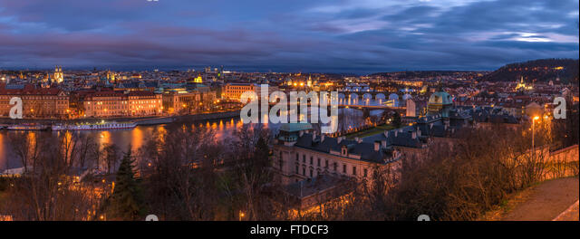 Prague in night panorama - Stock Image