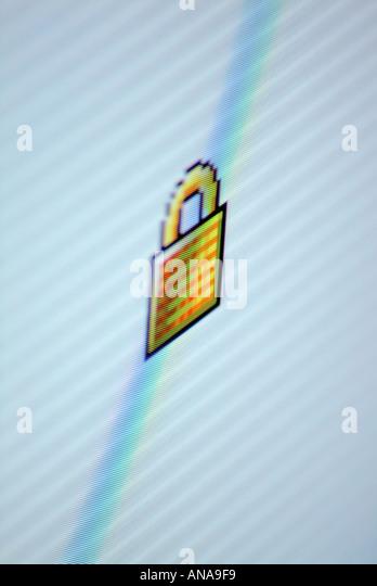 Computer screen detail padlock symbol - Stock Image