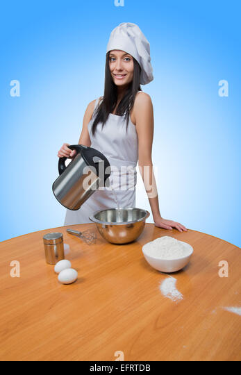 cooking. food concept - female chef, - Stock Image