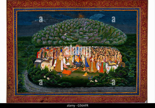 Krishna Lifting Mount Govardhan - Stock Image