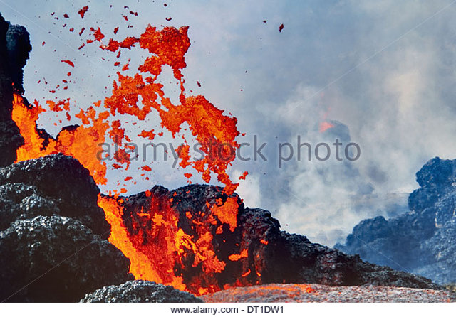 Hawaii Volcanoes National Park Hawaii Erupting lava Hawaii Volcanoes National Park - Stock Image