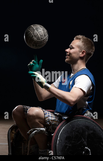 Para rugby player in wheelchair - Stock Image