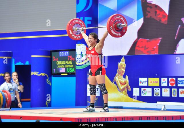 Bangkok, Thailand. 9th April, 2017. Chang-Fane Juliette Hannah of USA in during International Weightlifting Federation - Stock Image