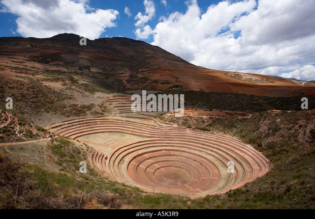 Inca terraces at Moray Sacred Valley nr Cusco Peru - Stock Image