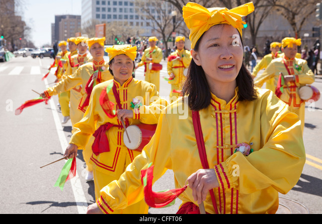 Chinese traditional drummers in parade - Stock Image