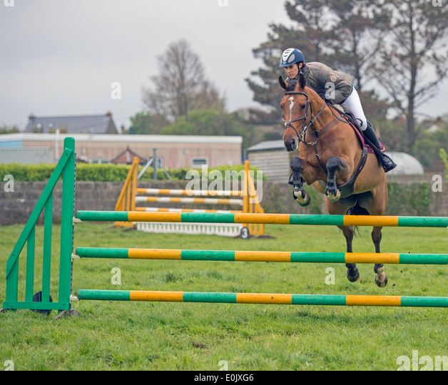 Helston Flora Horse Show 2014, British Show Jumping Event, Held at Nansloe Helston, Cornwall - Stock Image