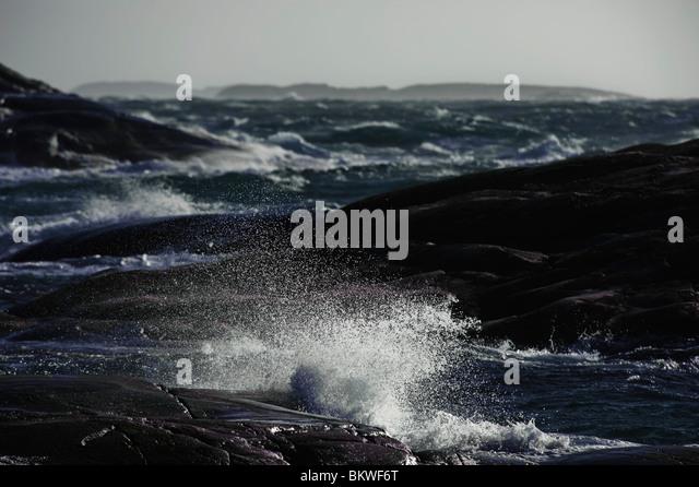 Big waves along the coast - Stock Image
