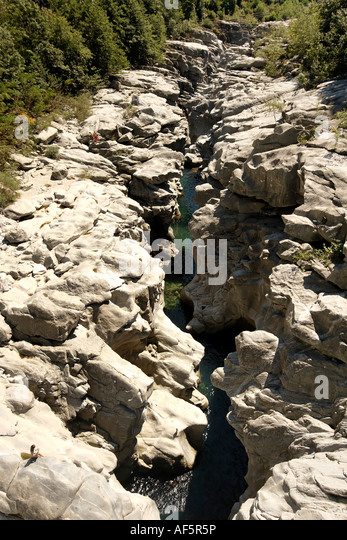 Switzerland Ticino Val Verzasca river rock intrusion - Stock Image
