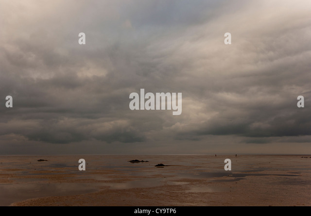 The Wash winters day across  sand mud flats with tide out - Stock Image