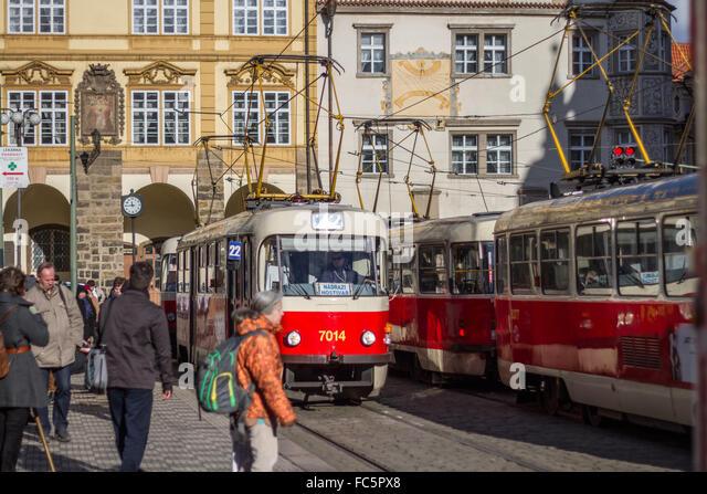 Nostalgic Tram in Prague - Stock-Bilder
