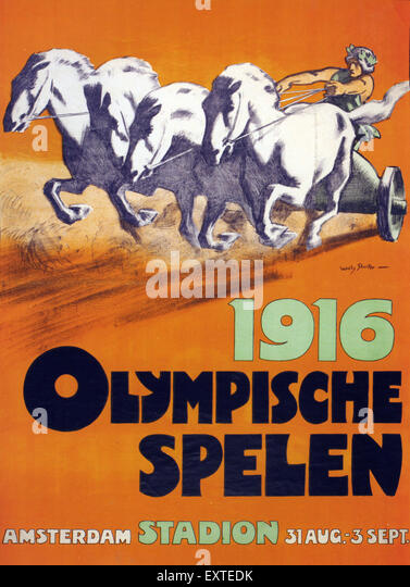 1910s Netherlands Olympic Games Poster - Stock Image