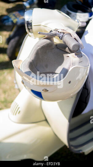 Vintage Style Motorcycle Crash Helmet. - Stock Image