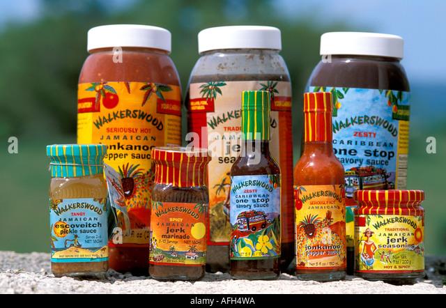 Jamaica cuisine Walkerswood seasonings jerk marinade spices - Stock Image