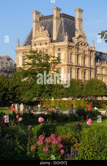Paris France Europe French 8th arrondissement Tuileries Garden Jardin des Tuileries park Louvre Art Museum Musee - Stock Image
