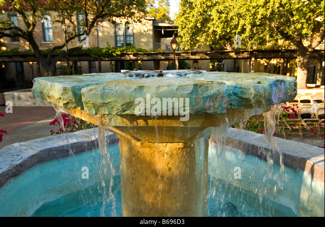 decorative water fountain Mayor maury maverick plaza La Villita historic arts village san Antonio texas tx tourist - Stock Image