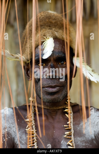 Portrait of an Asmat man, Irian Jaya Indonesia. - Stock Image
