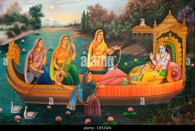 Indian oil painting on canvas of Lord Krishna and Gopi indian women on a boat. India - Stock Image
