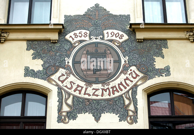 Wall painting at the famous tavern and bierkeller U Sulzmannu, from where the fame of the famous Pilsner beer has - Stock Image
