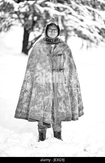 Portrait of actor Doug Brochu wearing a self-designed cloak. - Stock Image