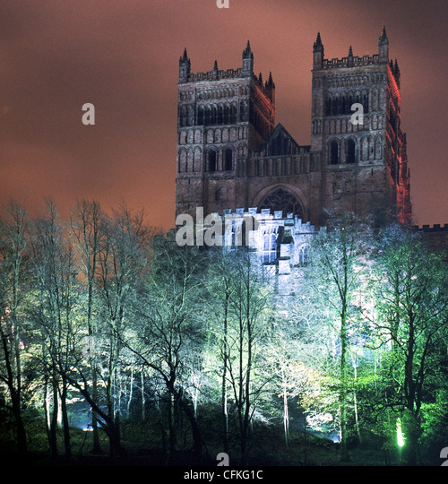 Durham Cathedral lit up for the 2011 Durham Lumiere festival - Stock Image