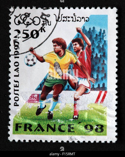 Postes Lao Laos 250K France 1998 98 football deportes world Cup worldcup sport Stamp - Stock Image