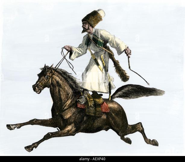Mongol or Tartar horseman 1800s - Stock-Bilder