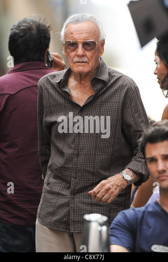 Stan Lee films scene ''The Avengers'' movie set Pershing Square restaurant out about CELEBRITY CANDIDS - Stock Image