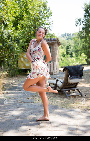 Happy girl in Italy - Stock Image