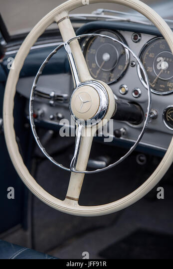 Detail of the interior of a classic Mercedes car - Stock Image