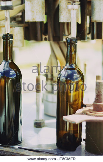 Mexico, Wine bottles in vintage winery - Stock Image