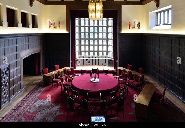 Potsdam, Germany. 25th June, 2015. The negotiation room of the Potsdam Conference at Cecilienhof Palace in Potsdam, - Stock Image