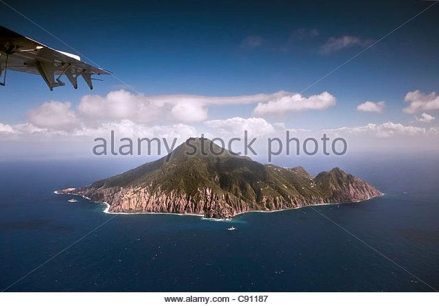 The Netherlands, Hell's Gate, Saba Island, Dutch Caribbean. Aerial. - Stock Image