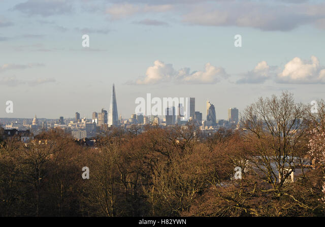 Shard and City of London skyline - Stock Image