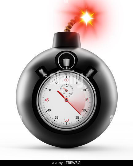 Chronometer on black bomb with a burning fuse - Stock Image