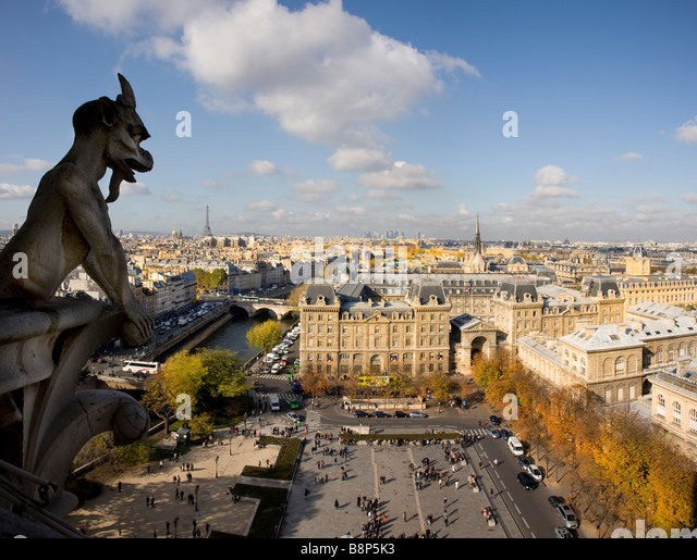 Eiffel Tower viewed from the top of the Notre Dame Paris France - Stock Image