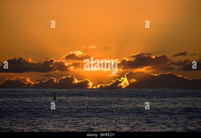 Sunset from Puerto de Tazacorte, Atlantic ocean, La Palma, Canary Islands, Spain, Europe - Stock Image