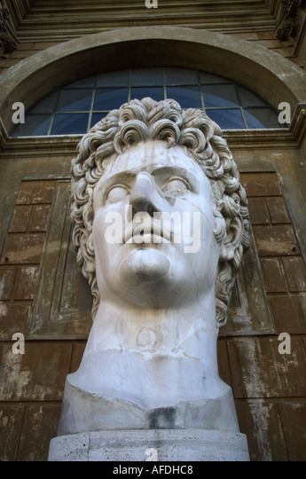 Vatican City Courtyard of the Pinecone bust Augustus Caesar art history - Stock Image