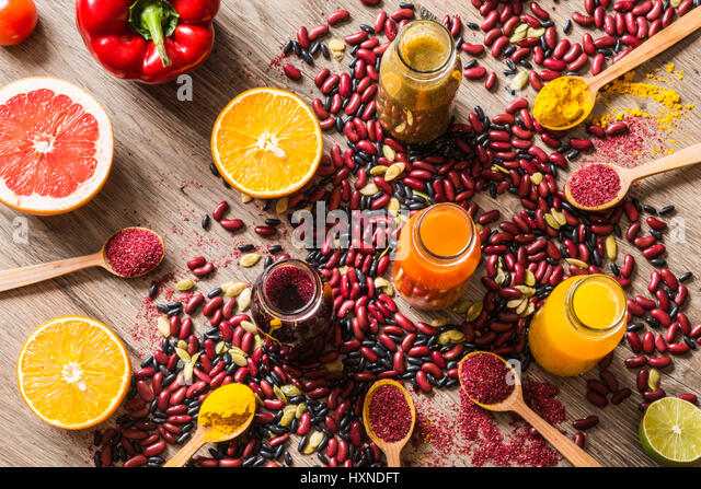 Detox diet. Different colorful fresh juices. top view - Stock Image