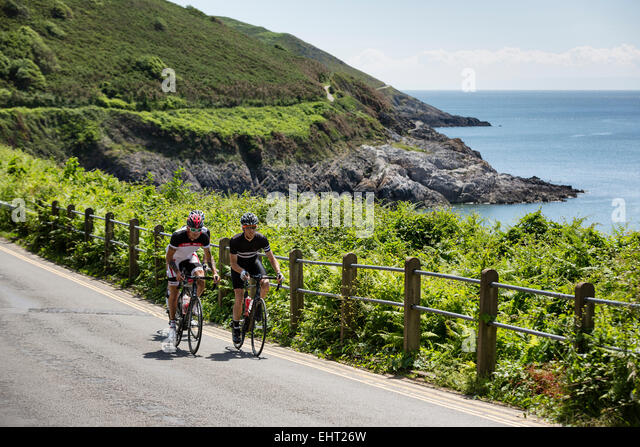 Cycling Gower Peninsula, West Wales - Stock Image